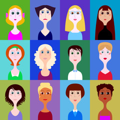 vector set of portraits of women