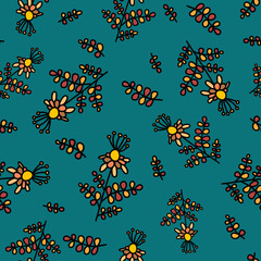 Seamless pattern with decorative medicinal herbs