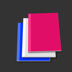 Vector modern books on gray background.