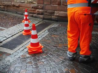street worker traffic cone