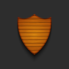 Vector modern wooden shield on gray background.