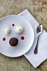 Chocolate cake and vanilla cream