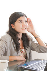 bright picture of happy bussiness woman listening gossip