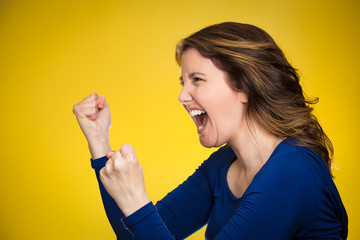 Side profile headshot angry woman screaming wide open mouth