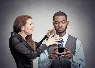 Obsessed with phone work man ignoring his girlfriend wife