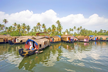 Traditional House boats, backwaters of Alleppey, Kerala, India.