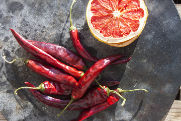 Dry chili and fruit
