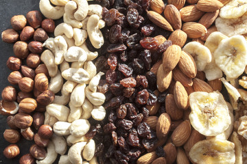 Hazelnuts,cashew nuts, raisins, almonds and dry bananas