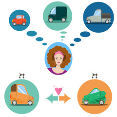 woman and car infographics. flat icon car