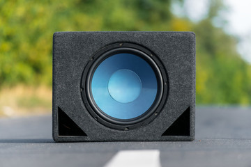 Subwoofers on the road outdoors