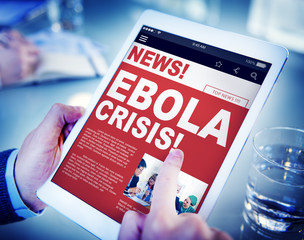 Businessman Holding Tablet Ebola News Concepts