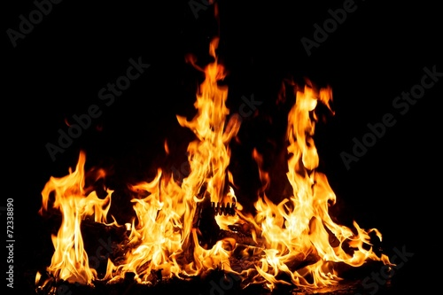 canvas print picture Fire burning in the night
