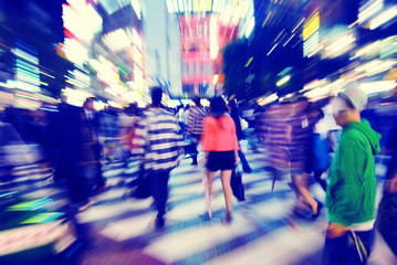 Crowd Pedestrian Walking Japan City Concept