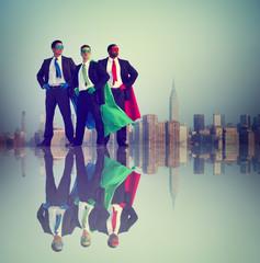Businessmen Superhero Power Success City Concept
