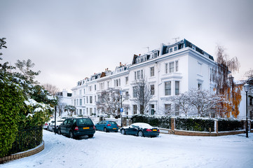 Snow coverd street in Kensington, London.