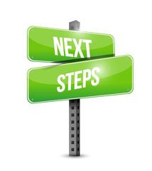 next steps road sign illustration design