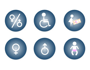 Restroom Male, Female, Baby Changing Sign, Handicap Sign. vector