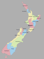 Highly detailed political New Zealand map