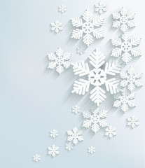 Christmas postcard with snowflakes. Vector.