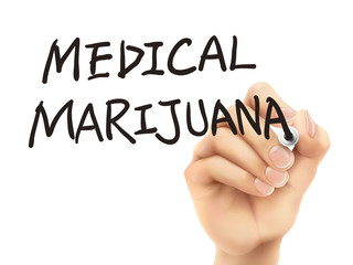 medical marijuana words written by 3d hand