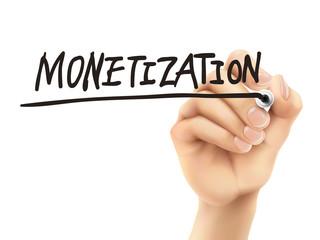 monetization word written by 3d hand