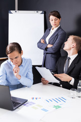 Businesspeople during business meeting
