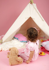 Toddler Girl Pretend Play with Teepee Tent and Stuffed Bear Toy