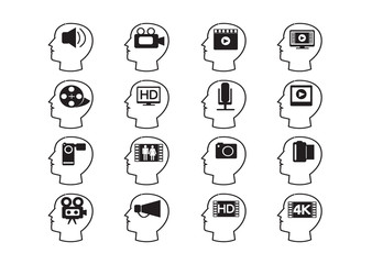 Thinking Heads and Video Movie Multimedia Icons