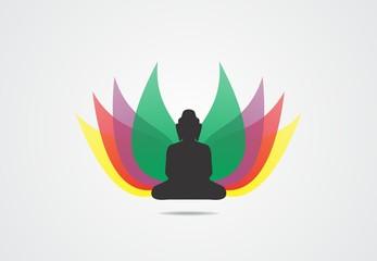 Silhouette , meditation, budism, lotus, flower, faith, yoga