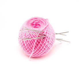 Wool with knitting needles