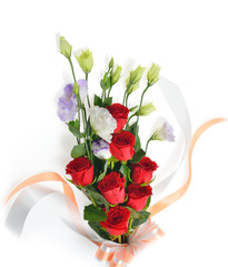 Bouquet of red rose and lisianthus flowers on white background