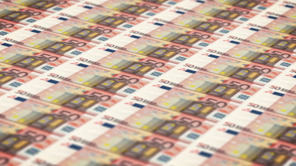 Money printing animation background with 50 euros bills