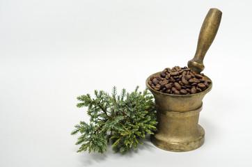 Кофе в ступке и можжевельник на белом фоне