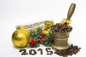 Новогодняя композиция с зёрнами кофе, 2015 год