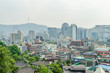 Cityscape of seoul and seoul tower on a mountain at south korea