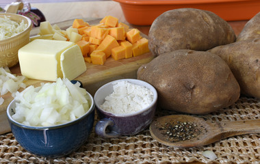 Potato Cheese Soup Or Casserole Food Ingredients