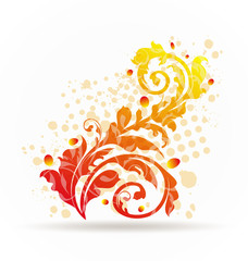 Autumnal ornamental colorful design elements
