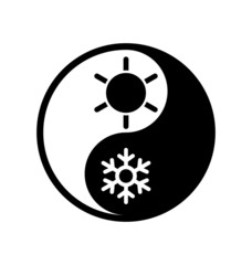 Symbol of climate balance in shape yin-yang