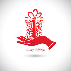 Red Web icon for celebrations, gift in hand.
