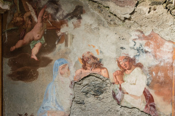 remains of Baroque frescoes in chapel near Cannobio