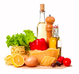 set of ingredients for food cooking isolated