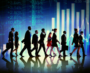 Silhouette Group of Business People Growth
