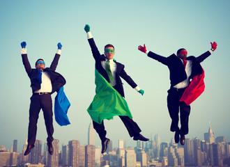 Superhero Businessmen New York Flying Concepts