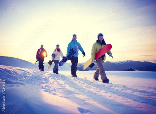 canvas print picture People Snowboard Winter Sport Friendship