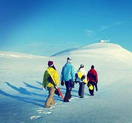 Snowboarders Sport Recreation Winter Concept
