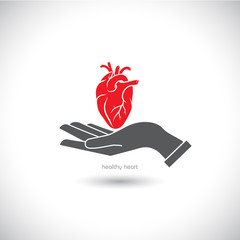 Web icon, the human heart in his hand