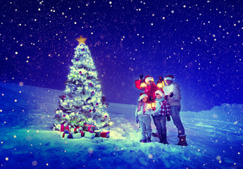 Christmas Tree Family Celebration Snow Concept