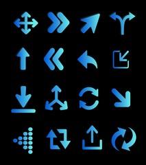 Flechas,  azul, celeste,  efecto fluorescente