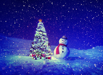 Christmas Tree Snowman Outdoor Concept