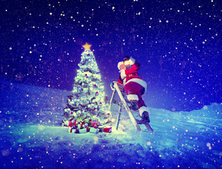 Santa Lamp Step-Ladder Christmas Tree Presents Concept